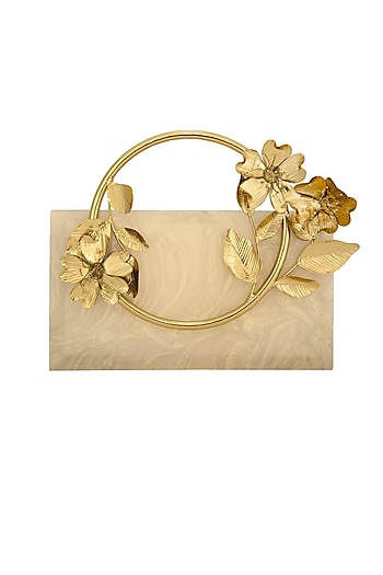 Pearl Gold Clutch With Metal Handle by Be Chic