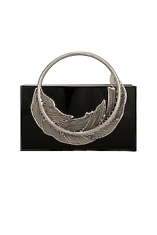 Black Clutch With Metal Handle by Be Chic