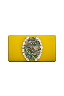 Yellow Crystals & MOP Clutch by Be Chic
