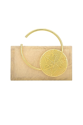 Gold Pearl Clutch With Metal Handle by Be Chic