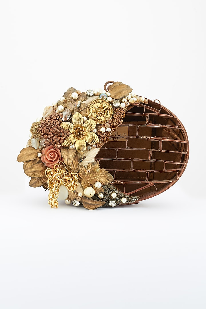 Bronze Crystals Embellished Handcrafted Clutch by Be Chic
