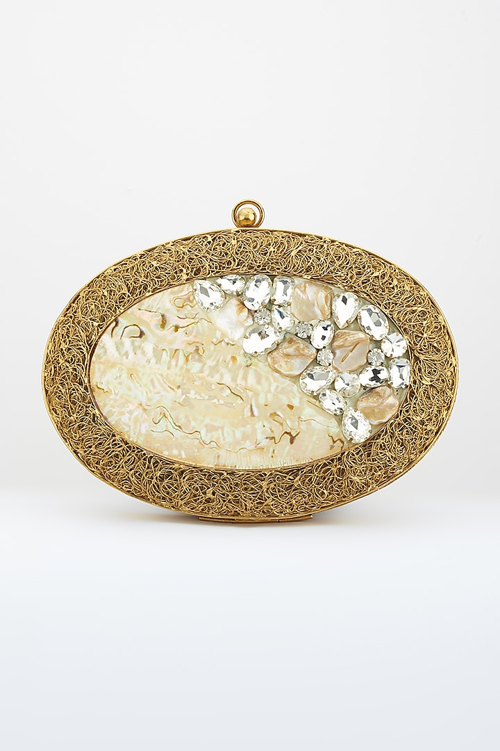 Dull Golden Crystals Embellished Handcrafted Clutch by Be Chic