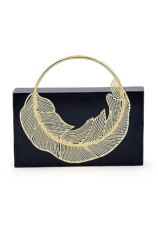 Black Brass Metal Clutch by Be Chic
