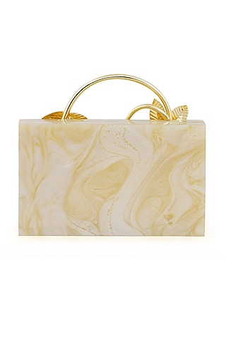 Caramel Brass Metal Clutch by Be Chic
