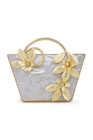 Gold & Ivory Floral Handle Clutch by Be Chic