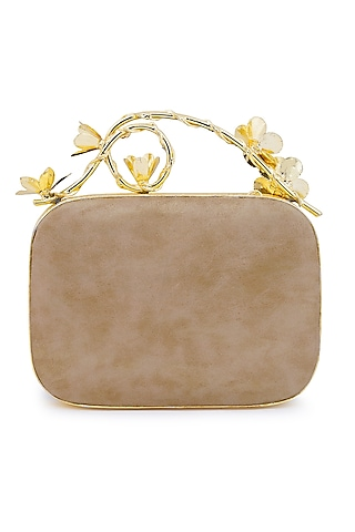 Gold & Ivory Mother Of Pearl & Floral Handle Clutch by Be Chic