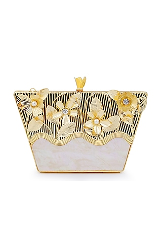 Gold & Ivory Pearls & Floral Embellished Clutch by Be Chic