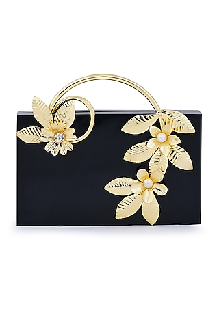 Black Metallic Floral Embellished Clutch by Be Chic