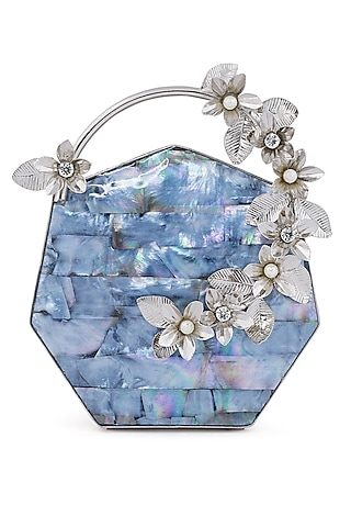 Silver Pearl & Floral Embellished Clutch by Be Chic