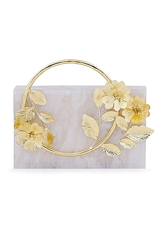 Ivory Metallic Floral Embellished Clutch by Be Chic