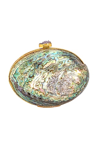 Green & Multi Colored Shell Clutch by Be Chic
