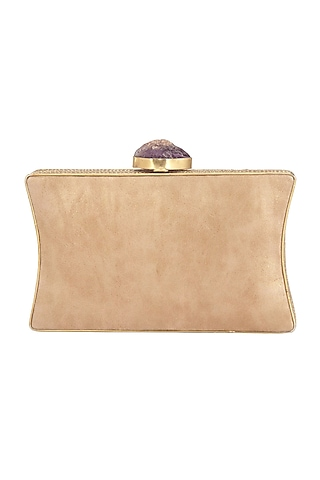 Dull Gold Embellished Clutch by Be Chic