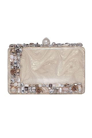 Gold Pearl Embellished Clutch by Be Chic