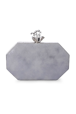 Silver Embellished Clutch by Be Chic