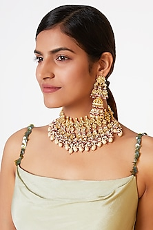 Gold Finish Pearl Choker Necklace Set by Belsi's Jewellery