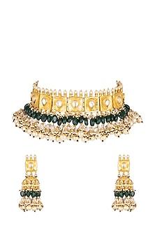 Gold Finish Choker Necklace Set by Belsi's Jewellery