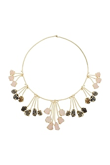 Gold Finish Multi Colored Stone Necklace by Belsi's Jewellery