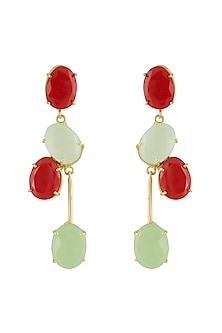 Gold Finish Green & Red Stone Earrings by Belsi's Jewellery