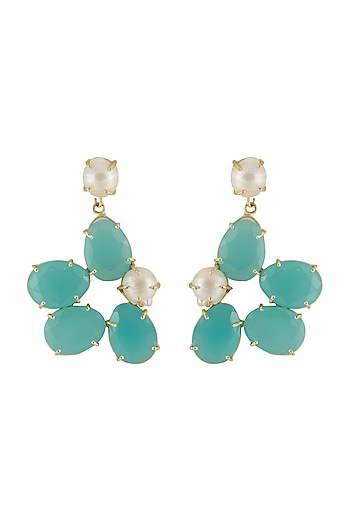 Gold Finish Green Stone Earrings by Belsi's Jewellery