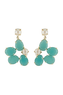 Gold Finish Green Stone Earrings by Belsi's Jewellery