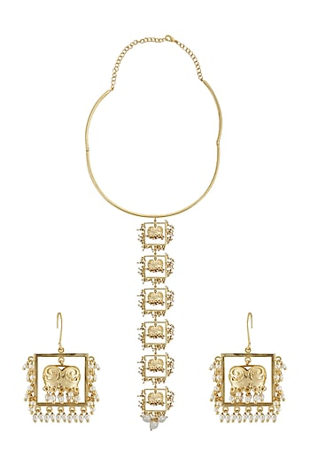 Gold Finish Pearl Long Necklace Set by Belsi's Jewellery