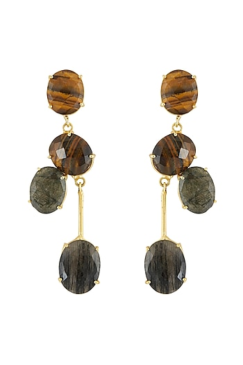Gold Finish Stone Earrings by Belsi's Jewellery