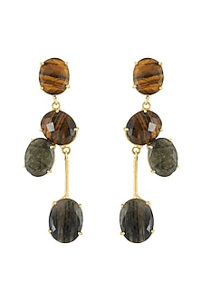 Gold Finish Stone Earrings by Belsi's Jewellery