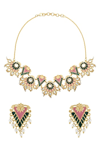Gold Finish Pink & Green Enamled Necklace Set by Belsi's Jewellery
