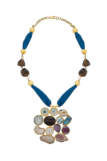 Gold Finish Stone Pendant Necklace by Belsi's Jewellery