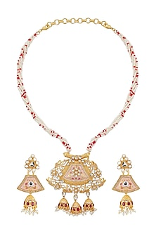 Gold Finish Enamled Kundan Necklace Set by Belsi's Jewellery