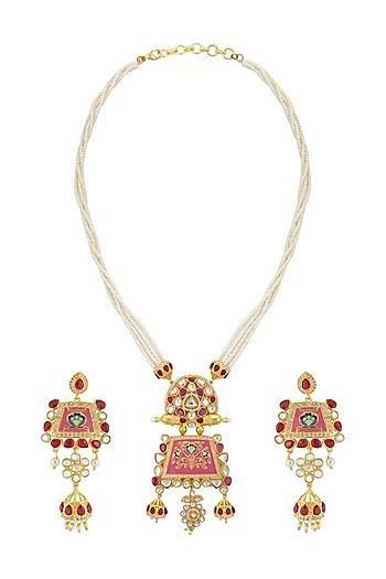 Gold Finish Pink Enamled Kundan Necklace Set by Belsi's Jewellery