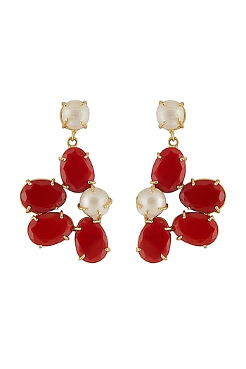 Gold Finish Red Stone Earrings by Belsi's Jewellery