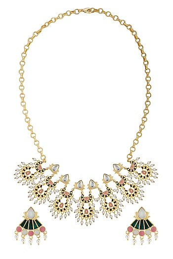 Gold Finish Enamled Kundan & Pearl Necklace Set by Belsi's Jewellery