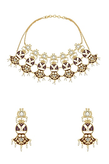 Gold Finish Kundan Lotus Necklace Set by Belsi's Jewellery