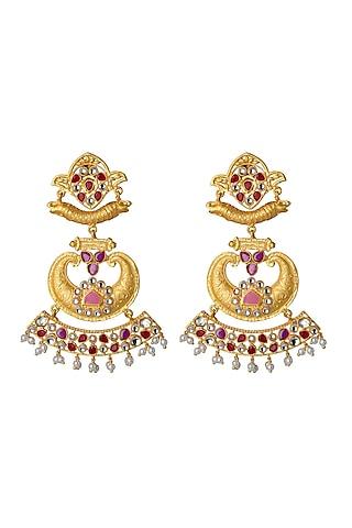 Gold Finish Polki Floral Motif Earrings by Belsi'S Jewellery