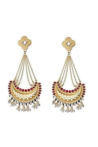 Gold Finish Red Polki Jhumka Earrings by Belsi'S Jewellery
