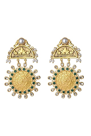 Gold Finish Green & White Stone Earrings by Belsi'S Jewellery