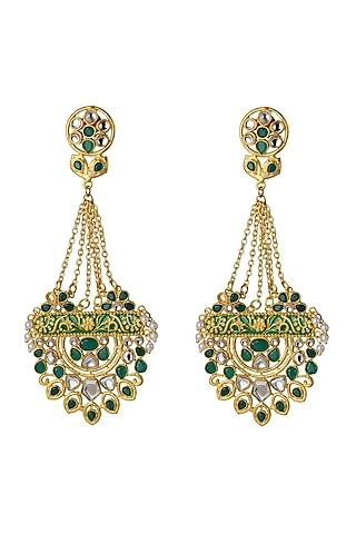 Gold Finish Green Polki Earrings by Belsi'S Jewellery