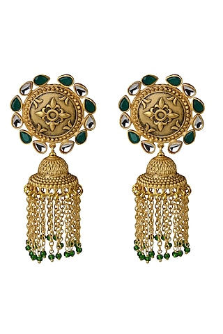 Gold Finish Stone Earrings With Tassels by Belsi'S Jewellery