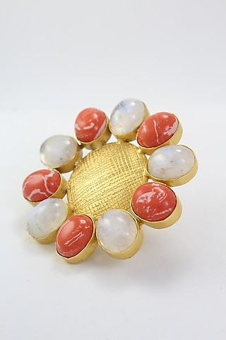 Gold Finish Natural Stone Ring by Belsi'S Jewellery