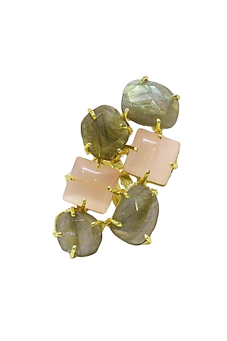 Gold Finish Handcrafted Natural Stone Ring by Belsi'S Jewellery