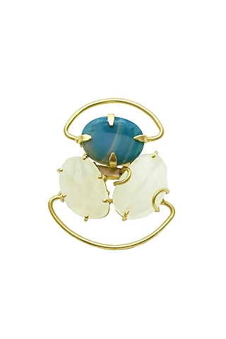 Gold Finish Handcrafted Natural Stone Ring In Brass by Belsi'S Jewellery