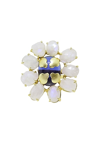 Gold Finish Studded Stone Brass Ring by Belsi'S Jewellery