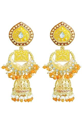 Matte Gold Finish Peacock Motif Jhumka Earrings by Belsi's Jewellery