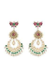 Gold Finish Kundan Chandbali Earrings by Belsi's Jewellery
