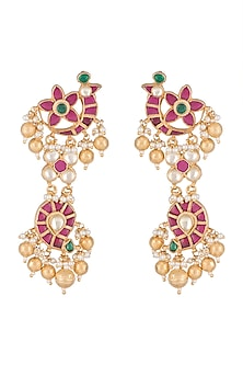 Gold Finish Kundan Long Dangler Earrings by Belsi's Jewellery