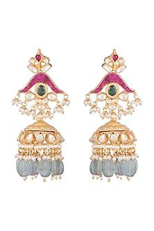 Gold Finish Kundan & Mint Green Stone Drop Earrings by Belsi's Jewellery