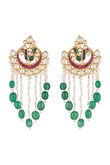 Gold Finish Kundan & Green Stone Drop Earrings by Belsi's Jewellery