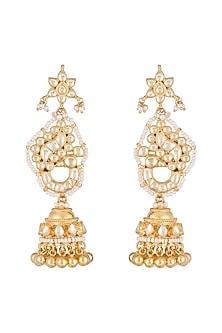 Gold Finish Kundan Peacock Earrings by Belsi's Jewellery