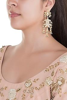 Gold Finish Kundan Fish Shaped Earrings by Belsi's Jewellery
